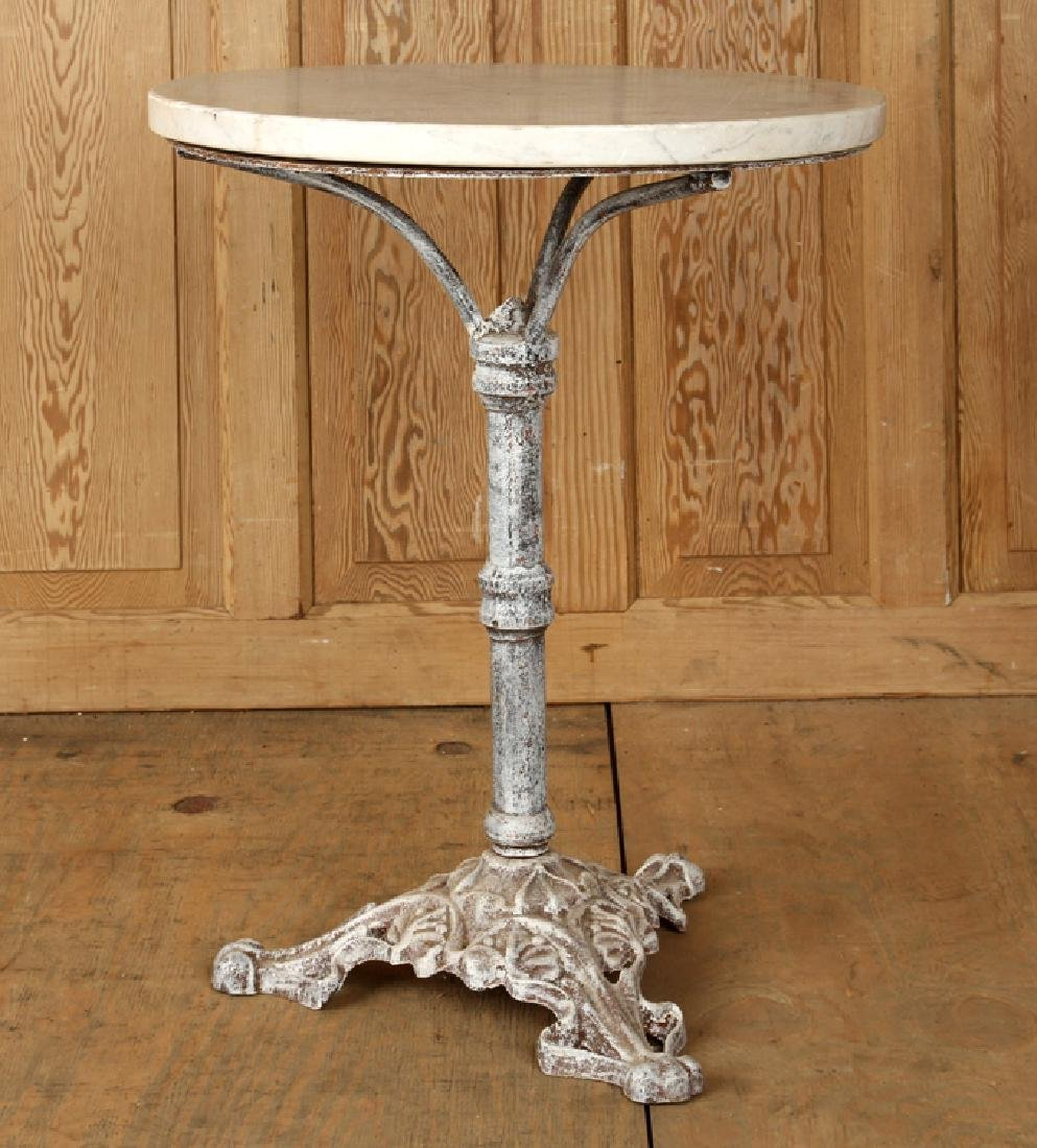 CAST IRON PUB TABLE CIRCULAR MARBLE TOP