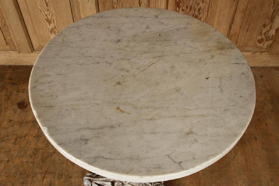 CAST IRON PUB TABLE CIRCULAR MARBLE TOP - 2