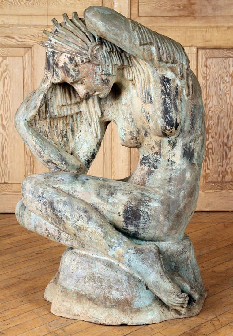 ART DECO STYLE BRONZE SEATED WOMAN SCULPTURE
