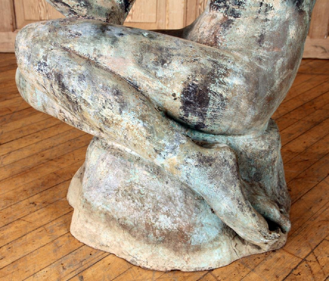 ART DECO STYLE BRONZE SEATED WOMAN SCULPTURE - 5
