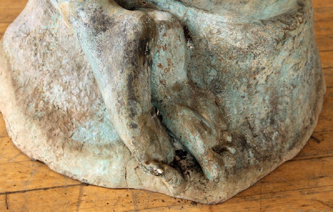 ART DECO STYLE BRONZE SEATED WOMAN SCULPTURE - 6