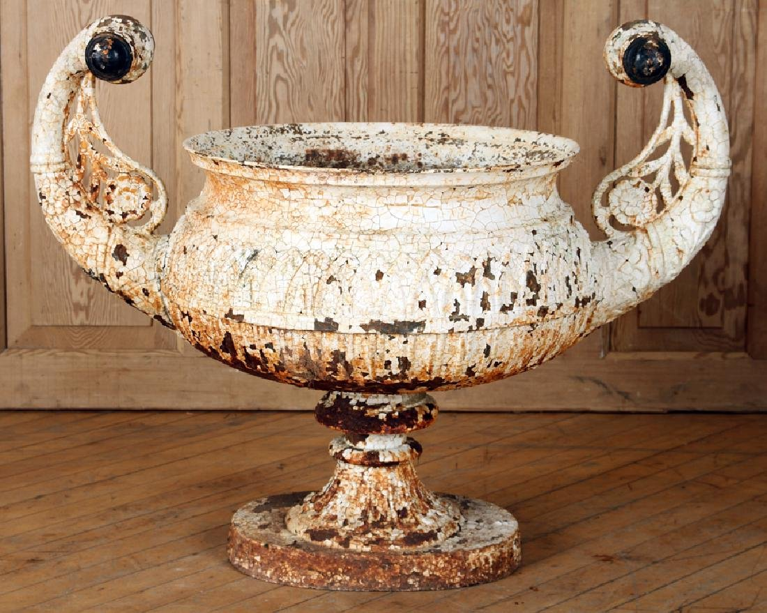 19TH C. PAINTED CAST IRON NEOCLASSICAL STYLE URN