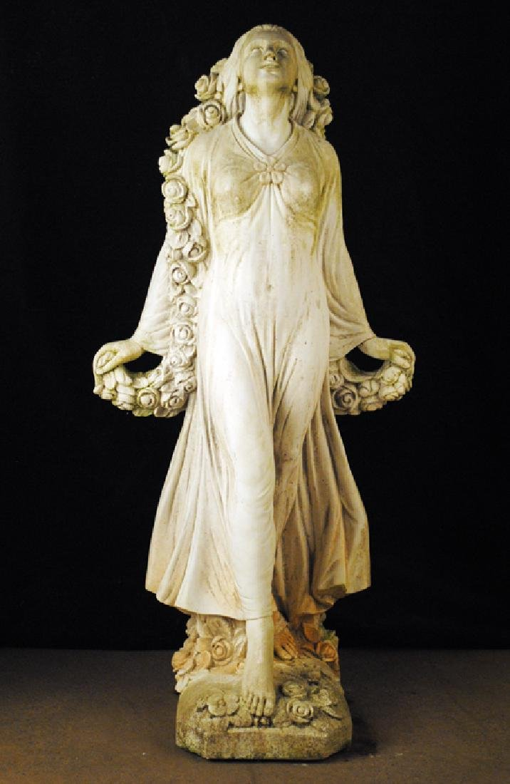 CAST STONE FEMALE FIGURE HOLDING SWAG OF FLOWERS