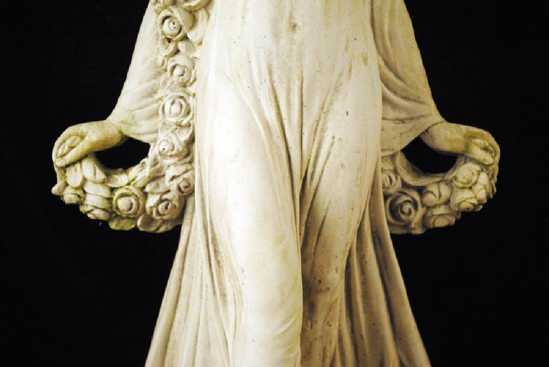 CAST STONE FEMALE FIGURE HOLDING SWAG OF FLOWERS - 3