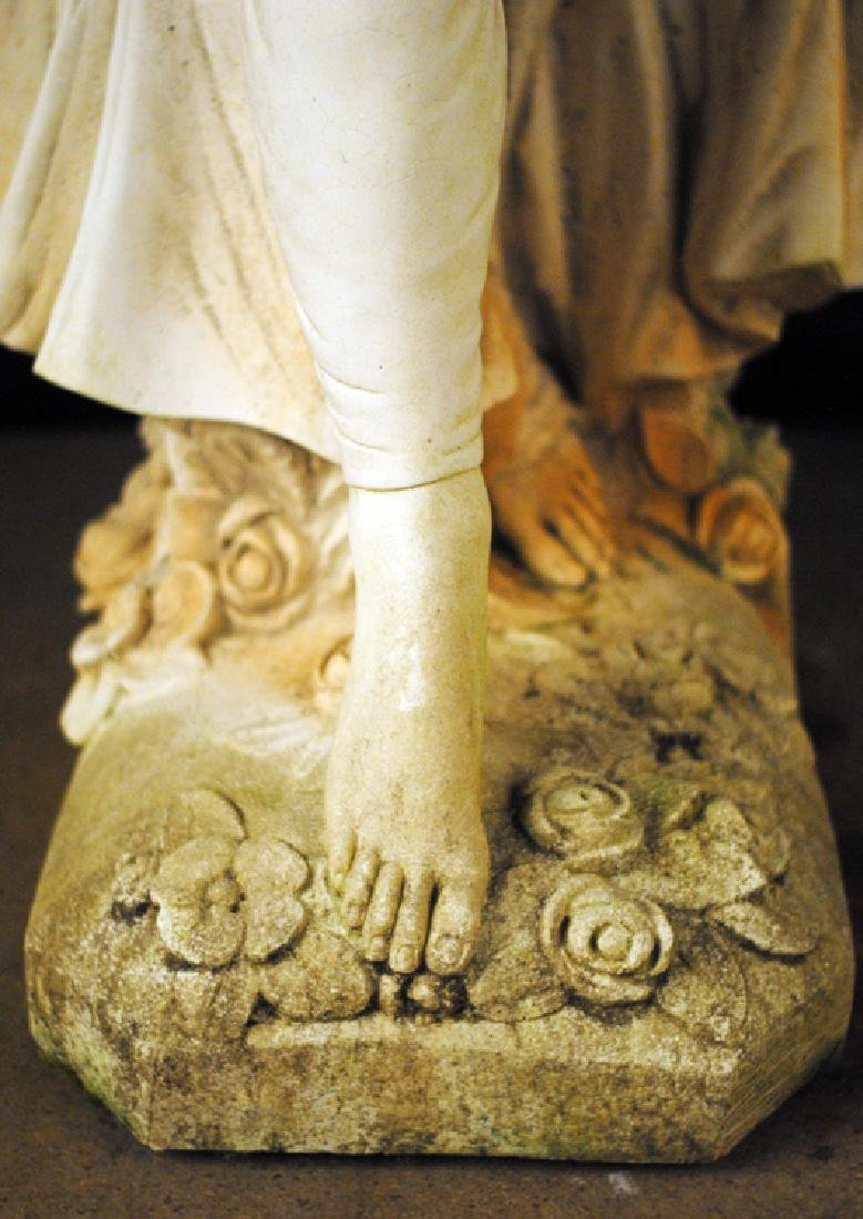 CAST STONE FEMALE FIGURE HOLDING SWAG OF FLOWERS - 4