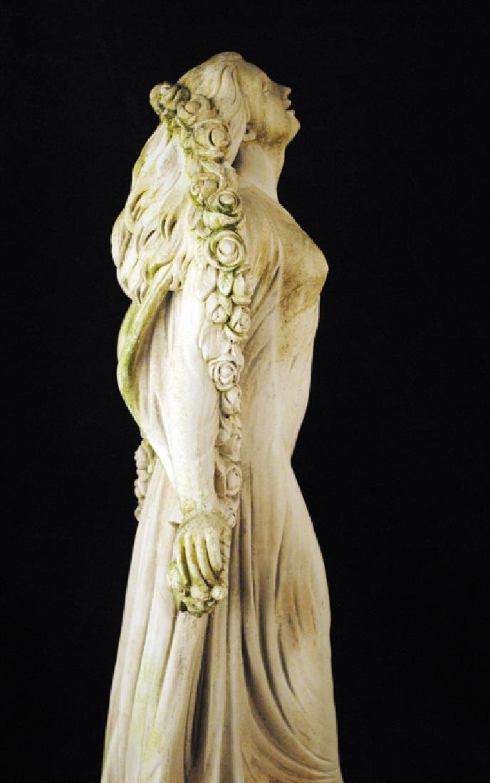 CAST STONE FEMALE FIGURE HOLDING SWAG OF FLOWERS - 5