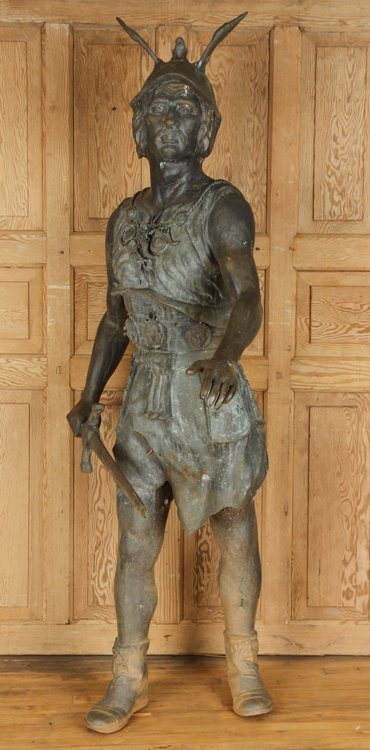 BRONZE ROMAN GLADIATOR GARDEN SCULPTURE