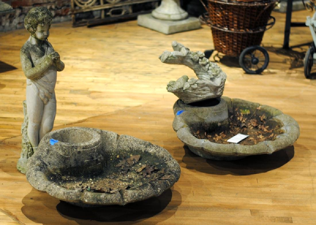 TWO CAST STONE GARDEN FOUNTAINS AND PLANTER