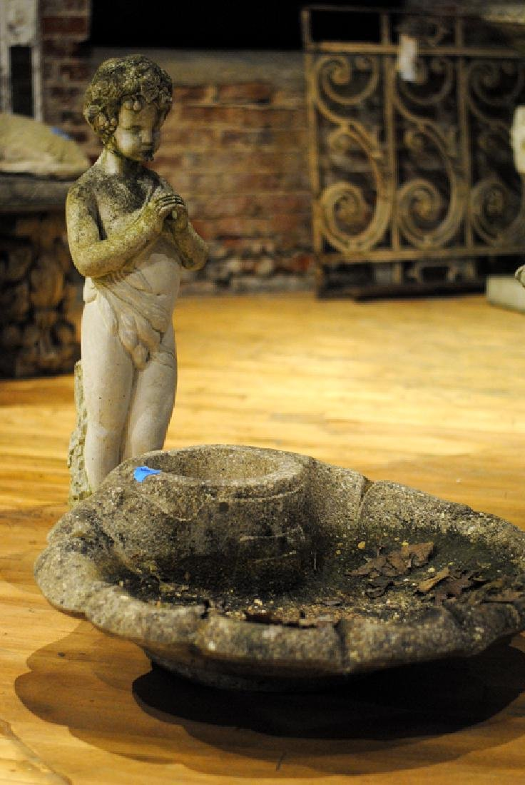 TWO CAST STONE GARDEN FOUNTAINS AND PLANTER - 2