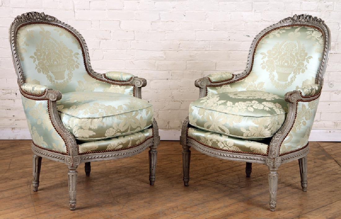 PAIR CARVED FRENCH BERGERE CHAIRS LOUIS XVI STYLE