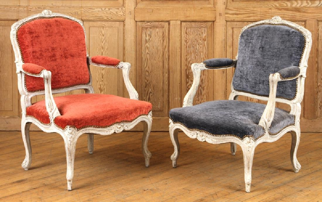 PAIR CARVED FRENCH PAINTED OPEN ARM CHAIRS C.1940