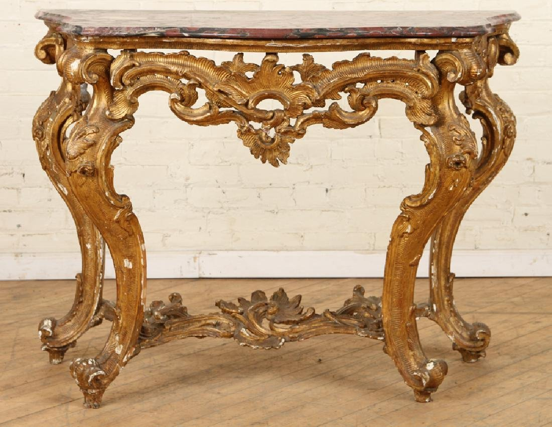 18TH CENT. ITALIAN MARBLE TOP GILT WOOD CONSOLE