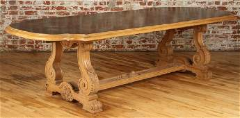 JANSEN OAK DINING TABLE PAINTED TOP CHINOISERIE