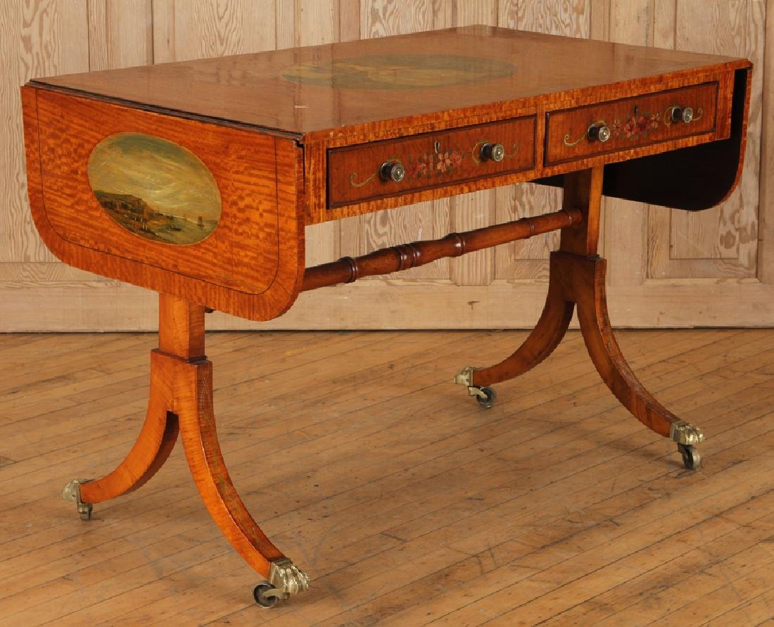 ADAMS STYLE SATINWOOD SOFA TABLE CIRCA 1890