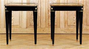 PAIR EBONIZED BRONZE MOUNTED JANSEN END TABLES