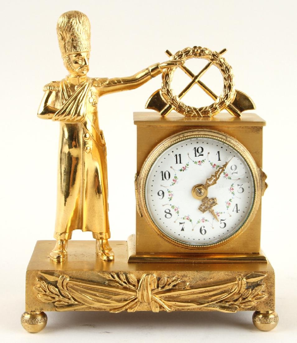 LATE 19TH C. CONTINENTAL GILT BRONZE DESK CLOCK