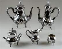 5 PC PERUVIAN STERLING SILVER TEA  COFFEE SET