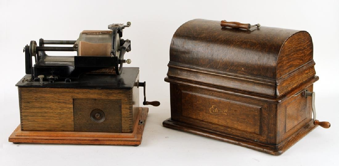 TWO THOMAS EDISON PHONOGRAPHS WITH SERIAL NUMBERS