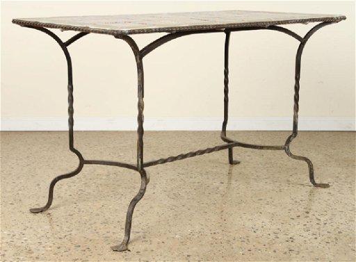 Ceramic Tile Top Patio Table Wrought Iron Base