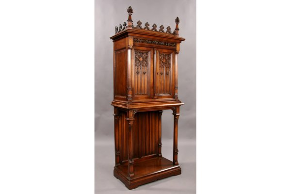 1: Small gothic walnut French cabinet on st