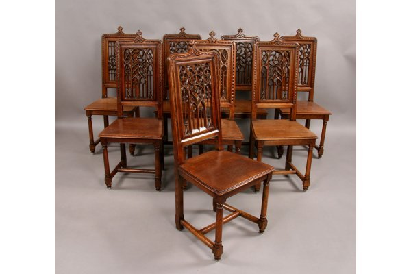 2: 8 side antique gothic style dining chairs oak