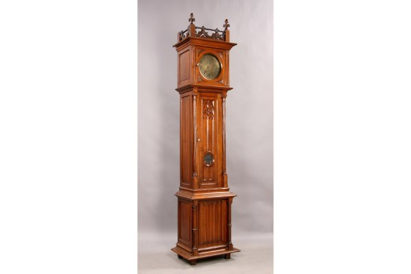 3: Antique gothic carved walnut tall case clock