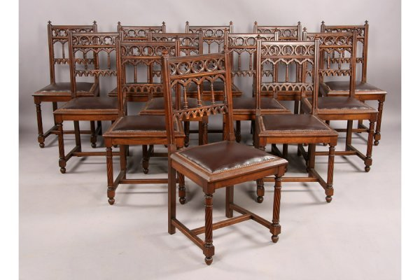 5: Gothic 12 carved walnut dining set 17 pieces