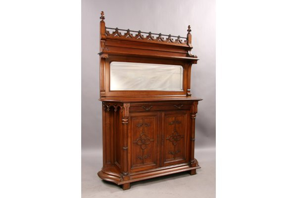 6: Carved walnut gothic mirrored back server