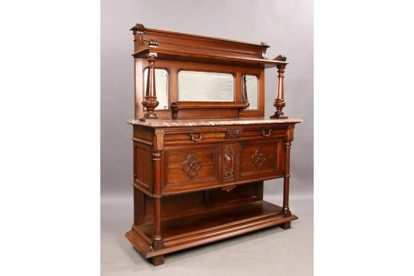 Carved gothic walnut server  marble top sideboard cabi