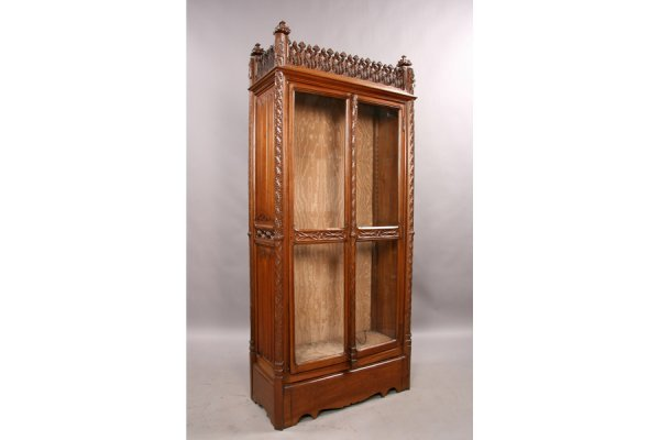 9: Antique carved walnut gothic vitrine