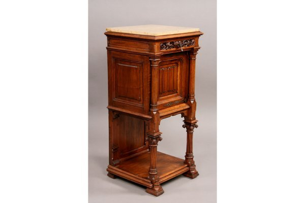 10: Gothic walnut marble top nightstand circ
