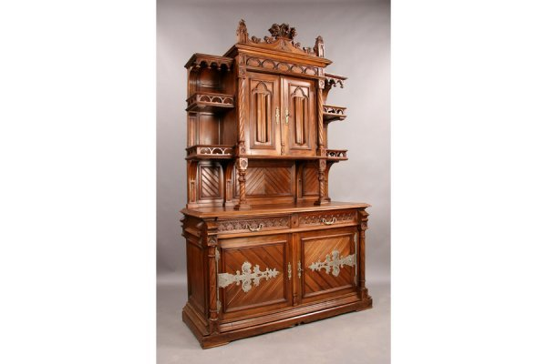 11: Gothic French walnut cabinet sideboard circa 1880