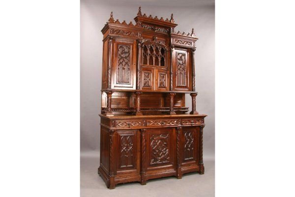 12: High gothic oak cabinet sideboard circa 1880