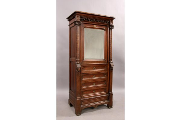 15: French gothic walnut desk cabinet