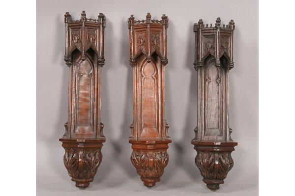 20: 3 19th c. carved gothic wall bracket niches
