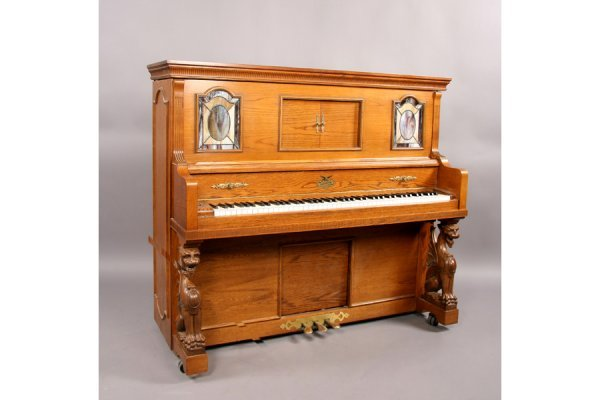 57: Universal carved oak griffin player piano and bench - 2