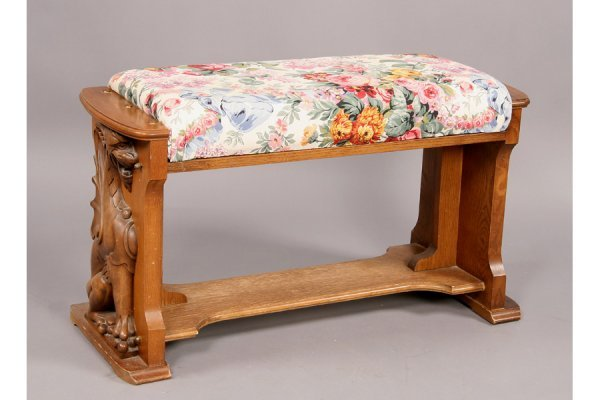 57: Universal carved oak griffin player piano and bench - 4