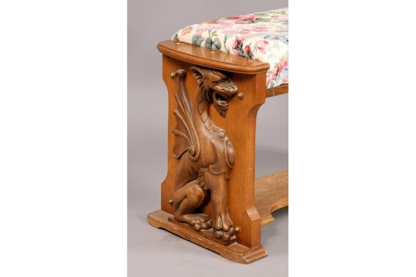 57: Universal carved oak griffin player piano and bench - 5