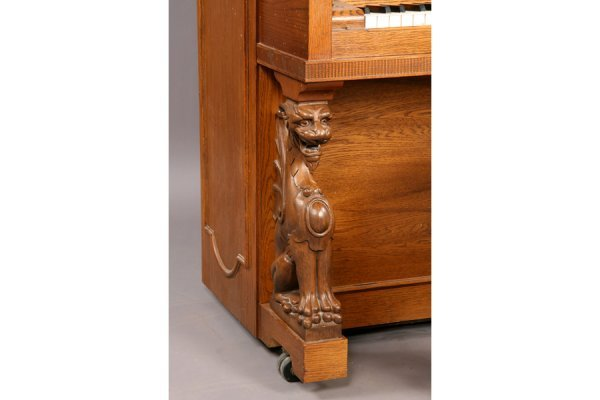 57: Universal carved oak griffin player piano and bench - 6