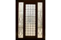 Pair  beveled glass sidelights jeweled stained windows