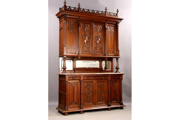 7A: Gothic walnut marble top server cabinet sideboard