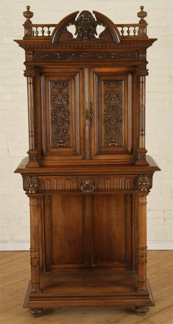 LATE 19TH C. FRENCH WALNUT CABINET ON STAND