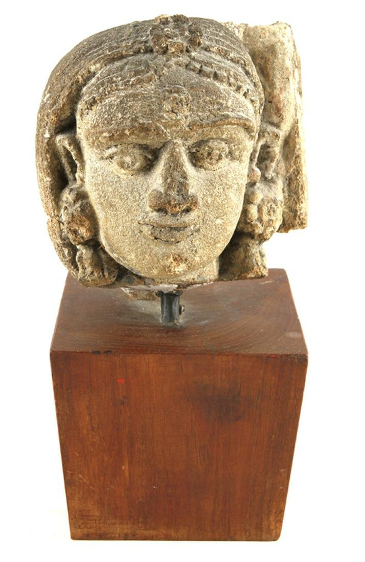 ANTIQUE CAST STONE FEMALE HEAD ON PEDESTAL