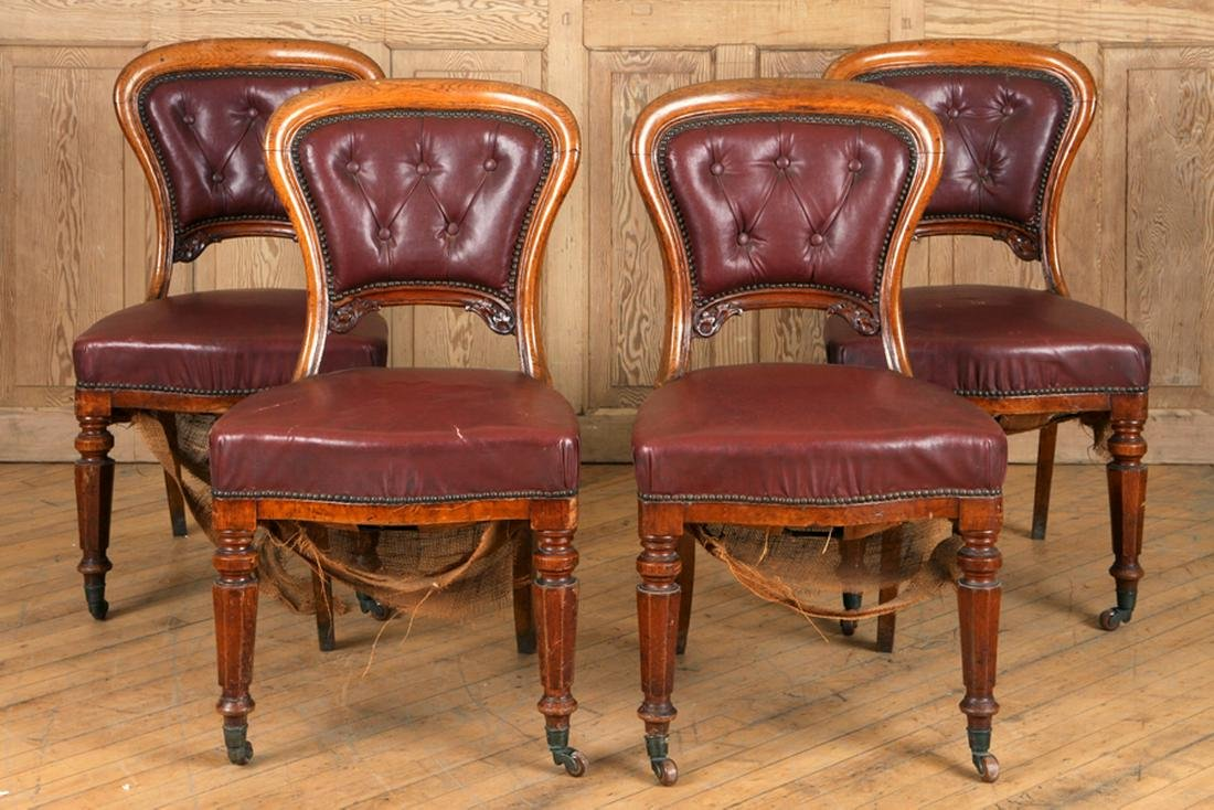 SET 4 19TH C. ENGLISH OAK AND LEATHER SIDE CHAIRS