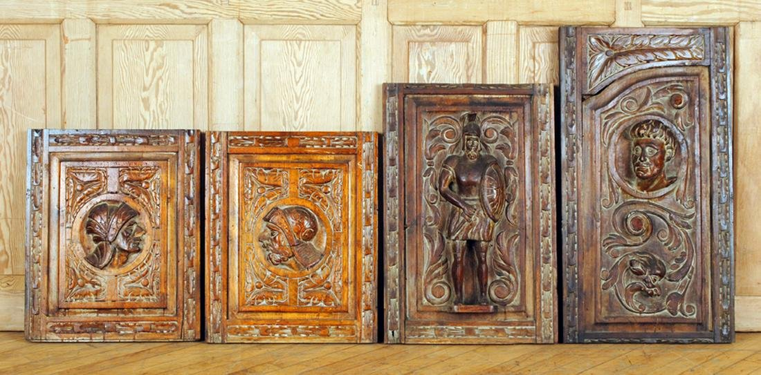 4 CONTINENTAL CARVED WALNUT PANELS CIRCA 1880