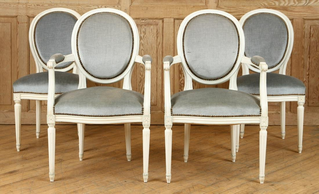 SET 4 FRENCH LOUIS XVI STYLE DINING CHAIRS