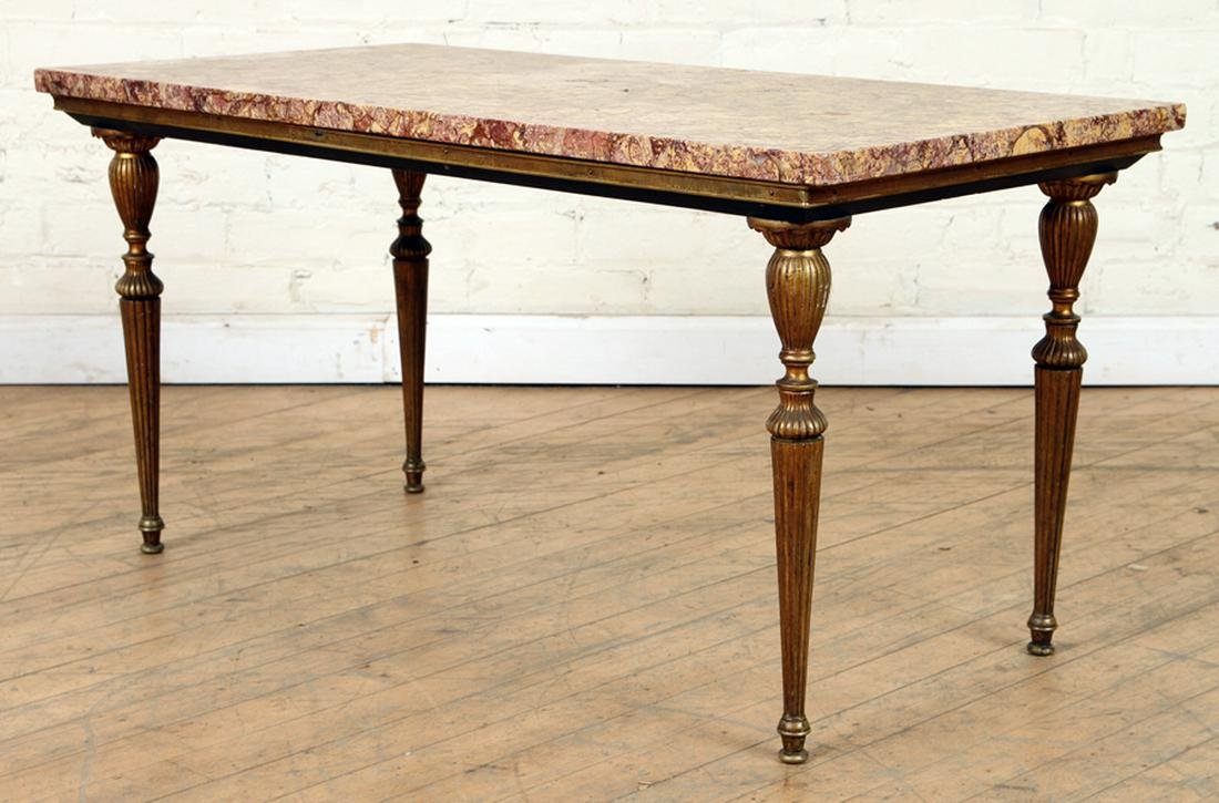 BROWN MARBLE TOP LOUIS XVI STYLE COFFEE TABLE