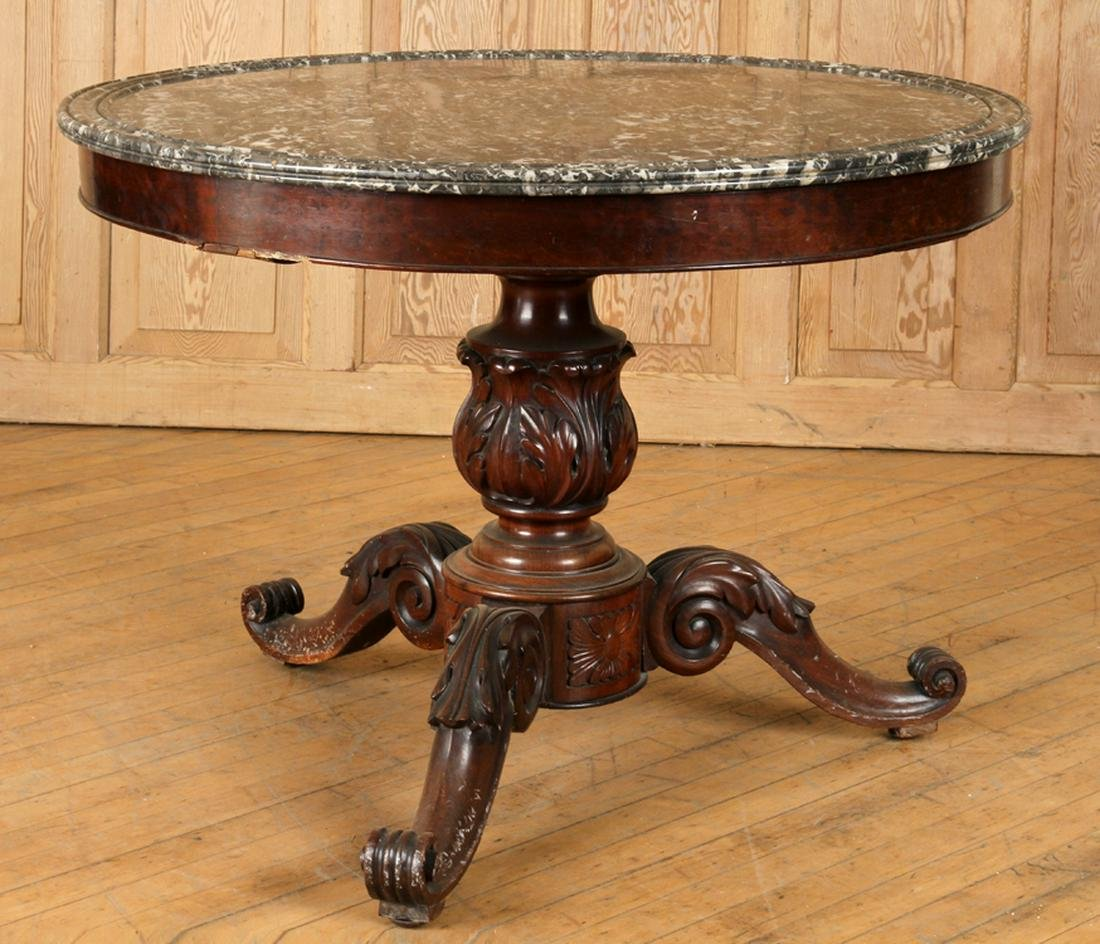 19TH C. FRENCH MAHOGANY MARBLE TOP CENTER TABLE