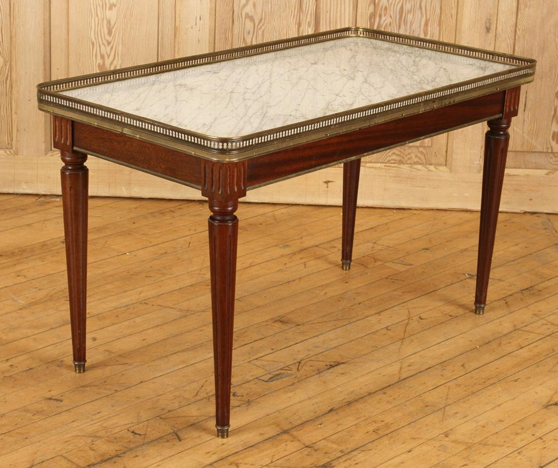 MAHOGANY MARBLE TOP COFFEE TABLE CIRCA 1940