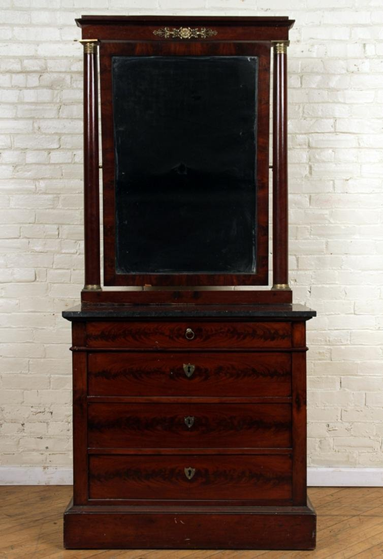 FRENCH MAHOGANY MARBLE TOP COMMODE & MIRROR